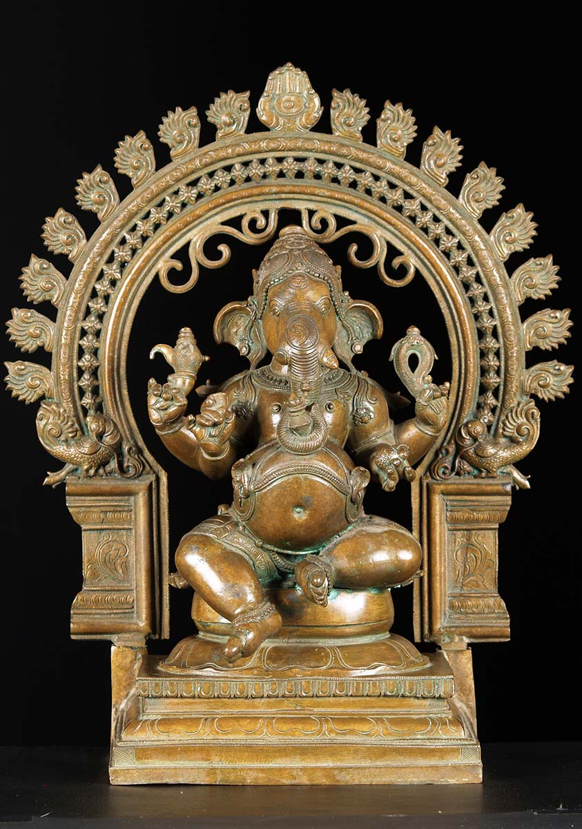"SOLD Bronze Ganesh With Arch Statue 21"" (#74b60): Hindu ..."