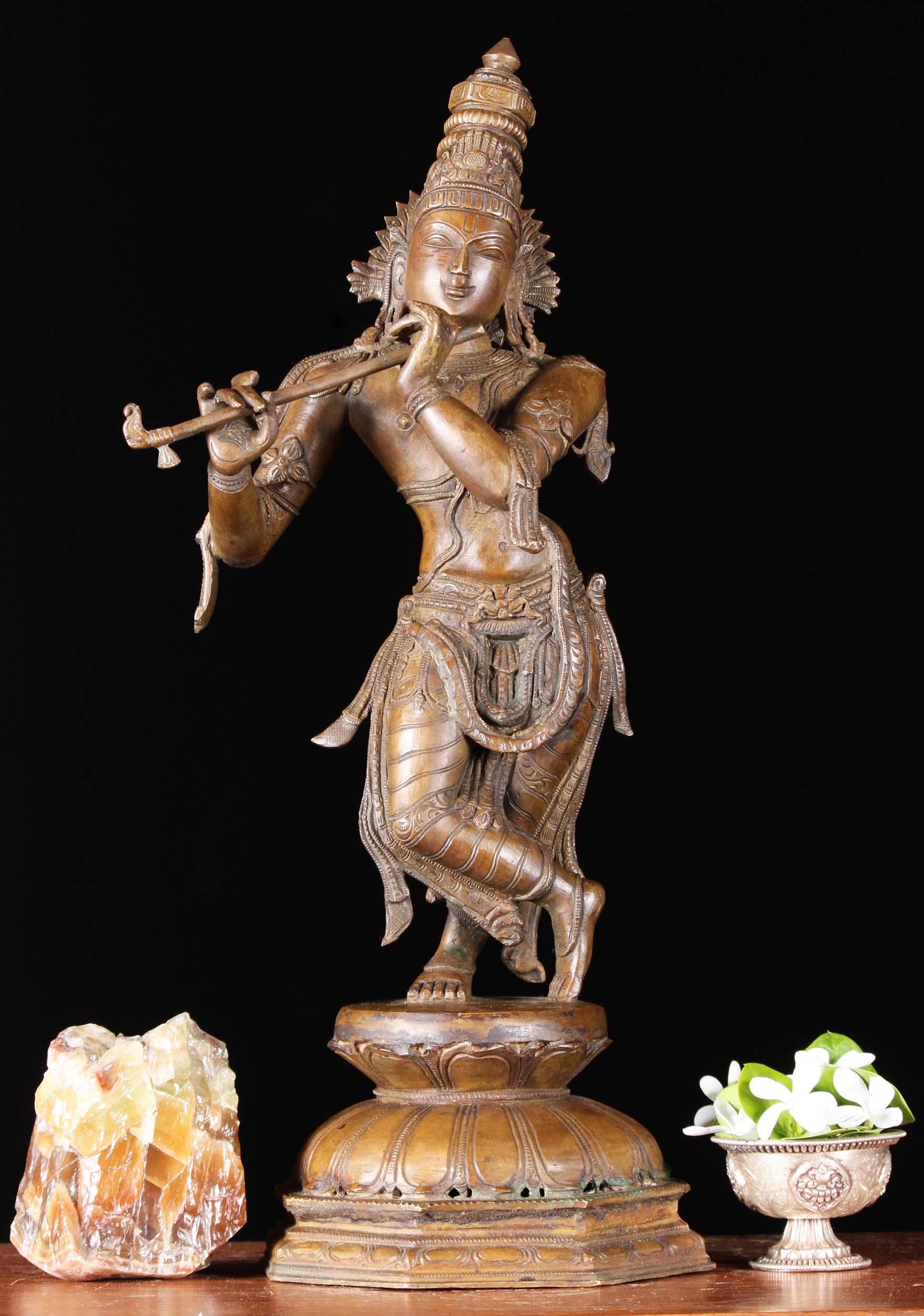 Bronze Gopal Krishna Statue Octogonal Base 18 Quot 92b26