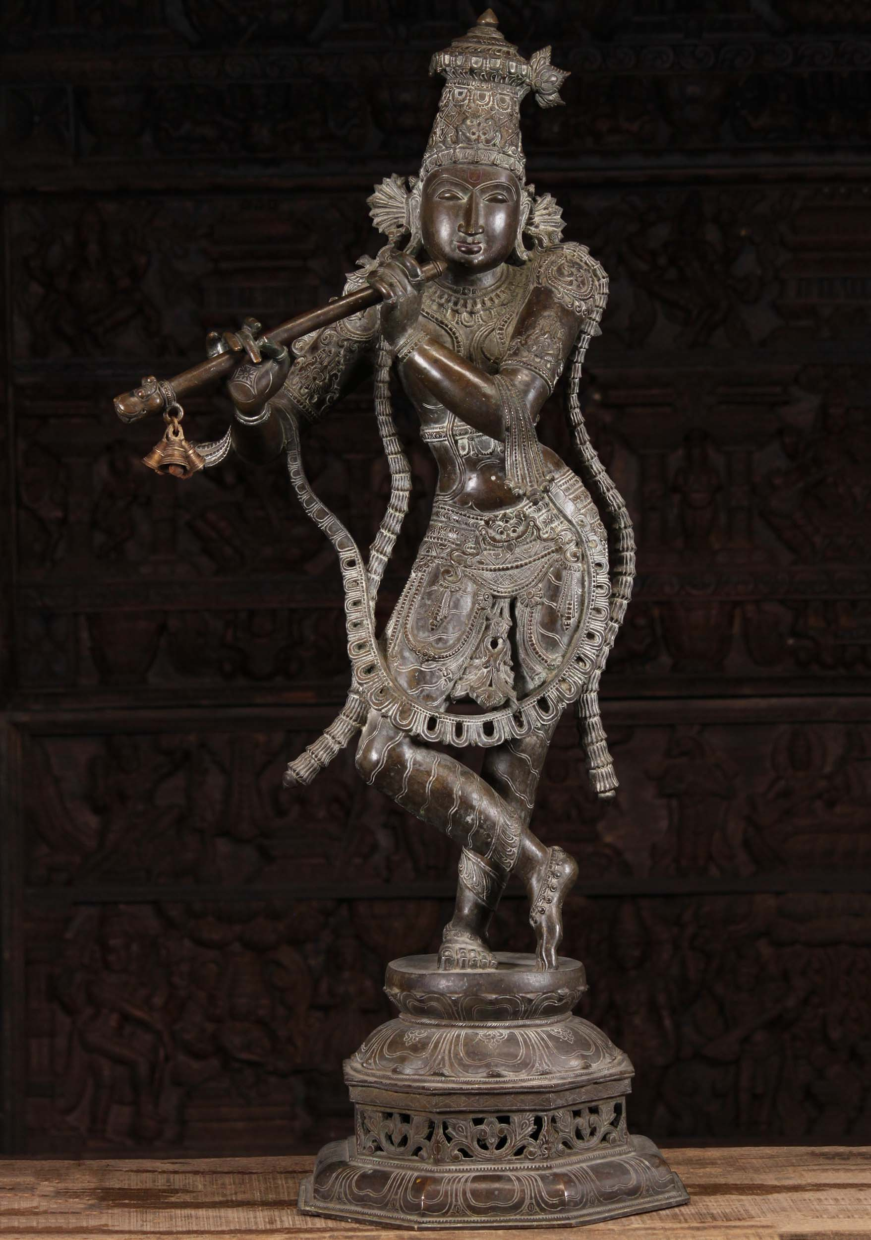 Bronze Krishna Playing Yali Flute with Bells