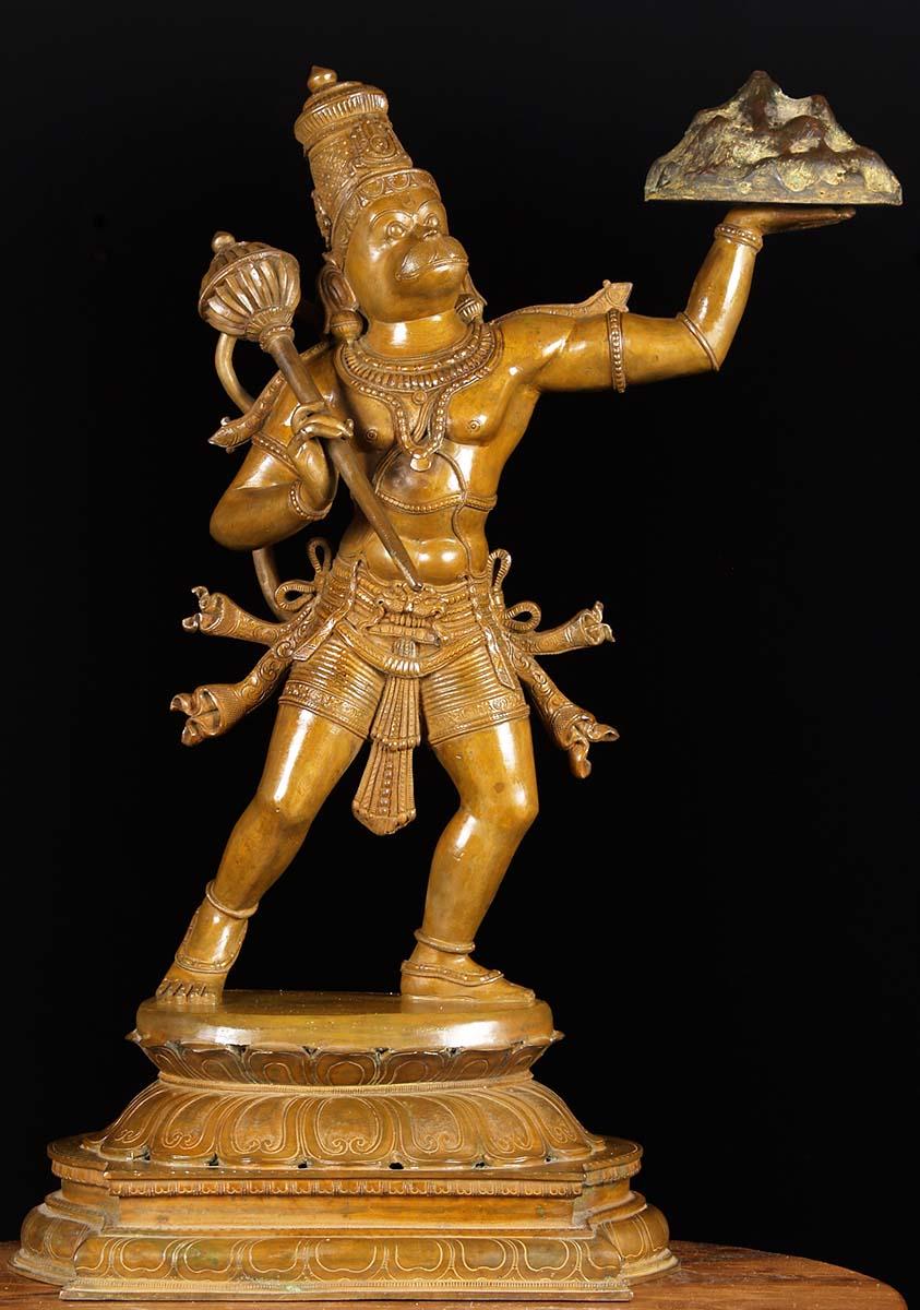 bronze hanuman holding mountain statue 27 73b6 hindu gods