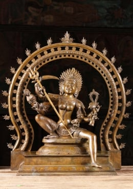 Bronze Kali Seated with Arch & Trident 26