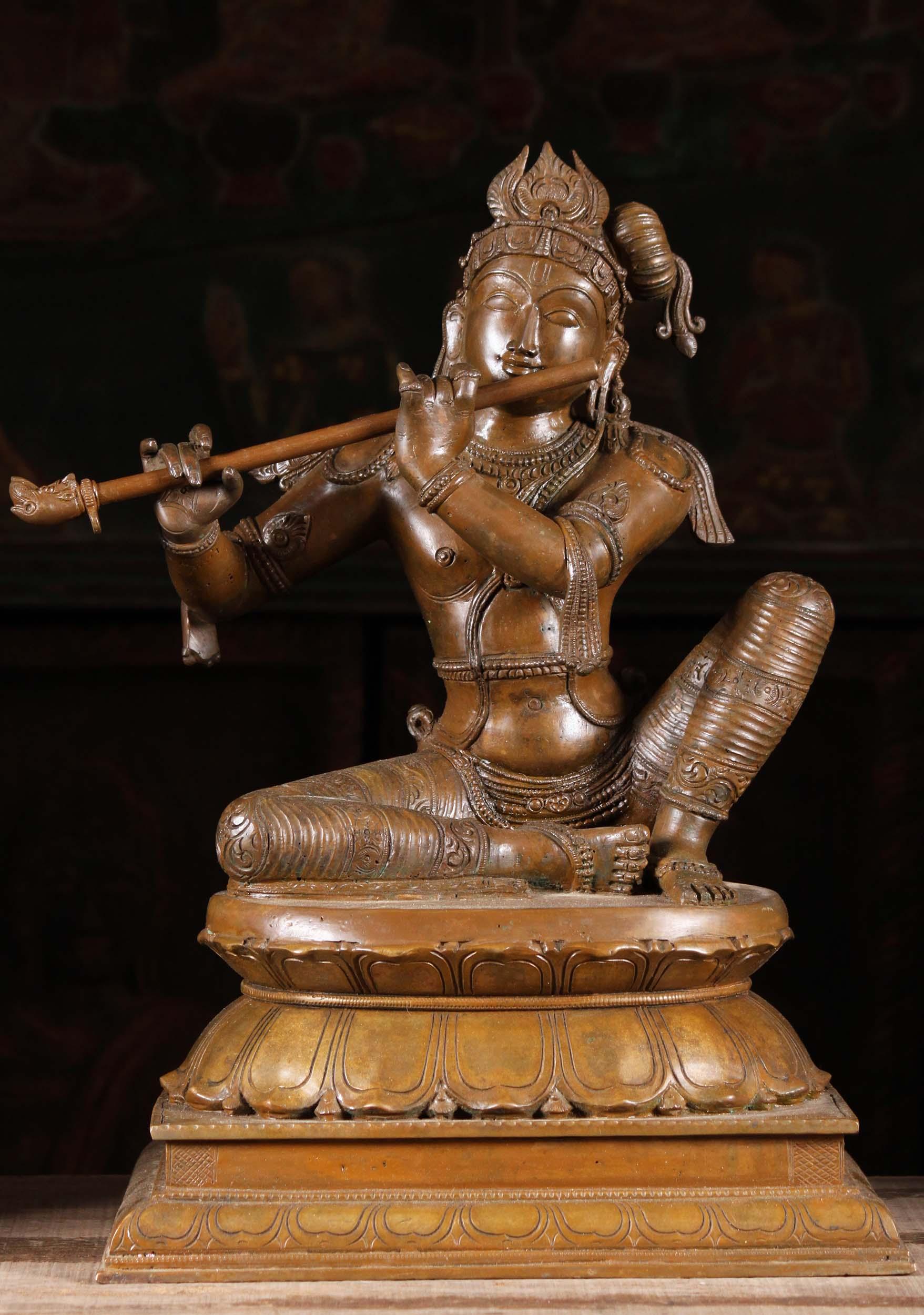 Bronze Krishna Seated Playing Flute 18 Quot 99b1 Hindu