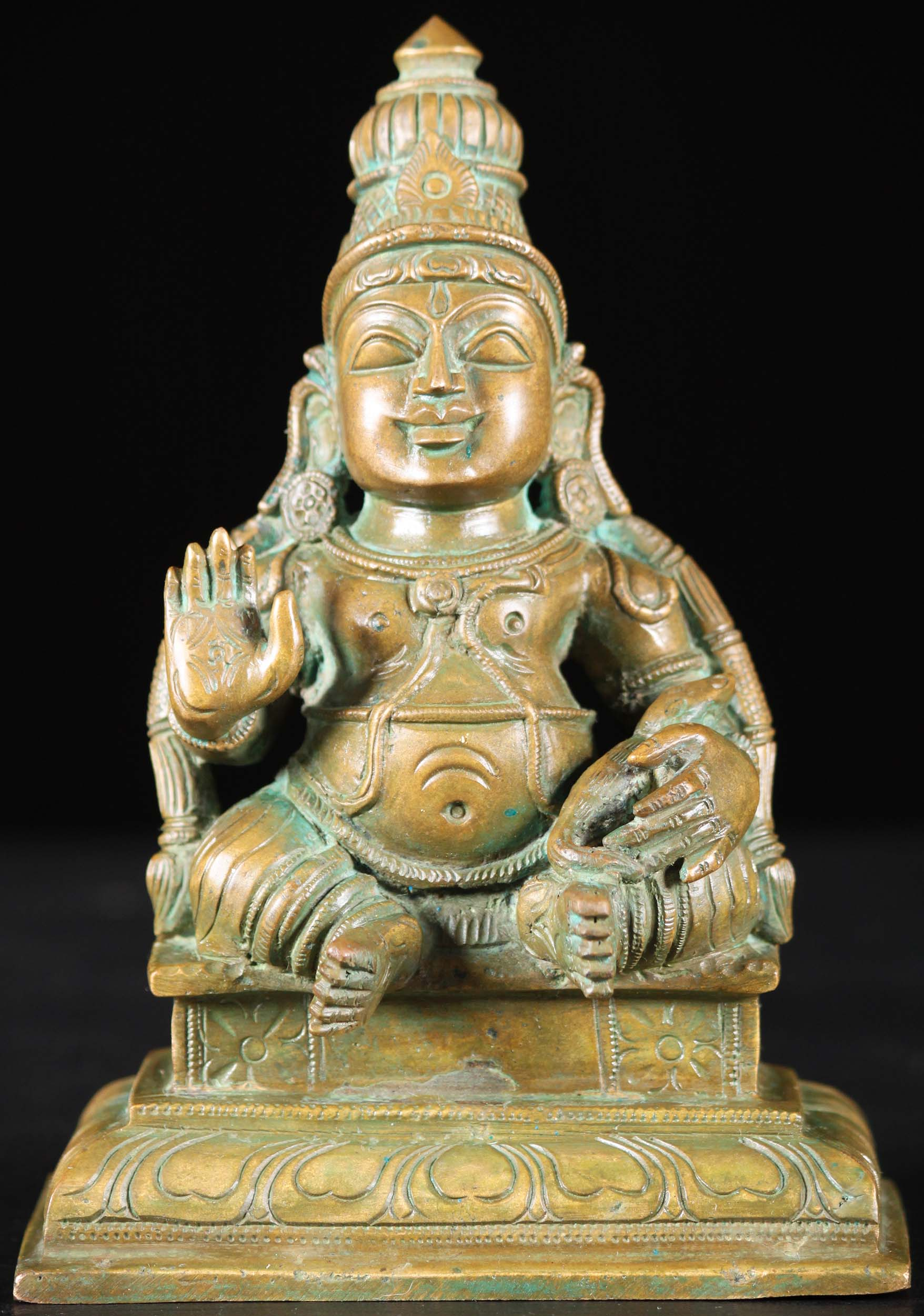 bronze kubera statue with mongoose 6quot 91b13 hindu gods