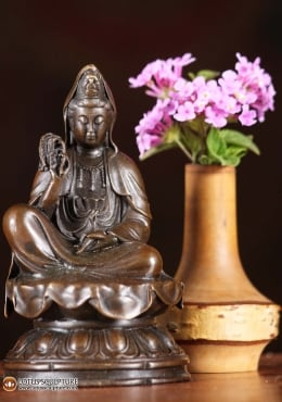 Bronze Kwan Yin with Willow Branch Statue 4.5