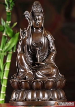 Bronze Kwan Yin Holding Feather & Vase 12