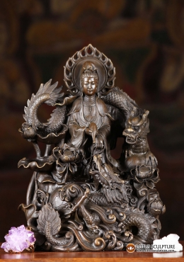 Bronze Kwan Yin Statue in Storm with 2 Dragons 9