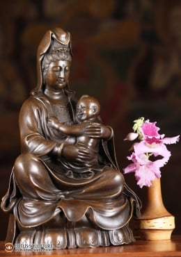 Bronze Kwan Yin With Child Sculpture 9