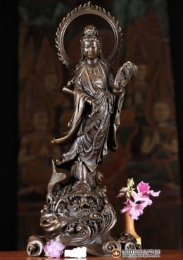 Bronze Kwan Yin Holding Willow Branch Statue 18