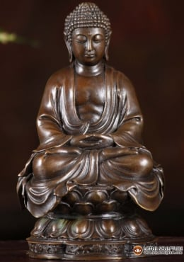 Bronze Meditating Buddha On Lotus Base 6