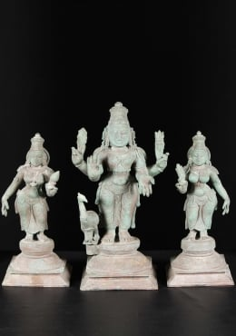 Bronze Antique Murugan with Valli & Devasena 21