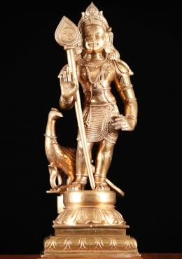 Bronze Murugan Statue with Peacock & Spear 23