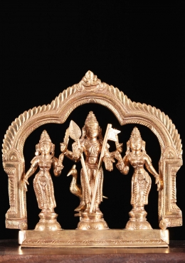 Bronze Murugan Statue with Valli & Devasena 7