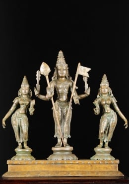 Bronze Murugan with Consorts Valli & Devasena 20