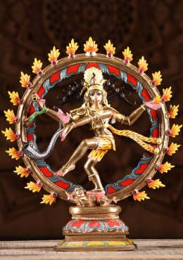 Bronze Painted Nataraj with Semi Precious Stones 13