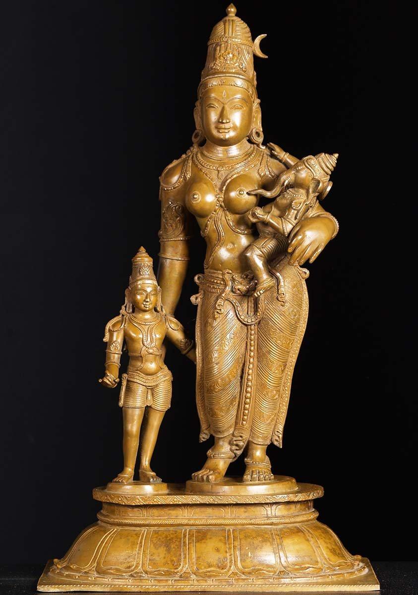 Sold Bronze Parvati With Sons Murugan Ganesh 24 73b24