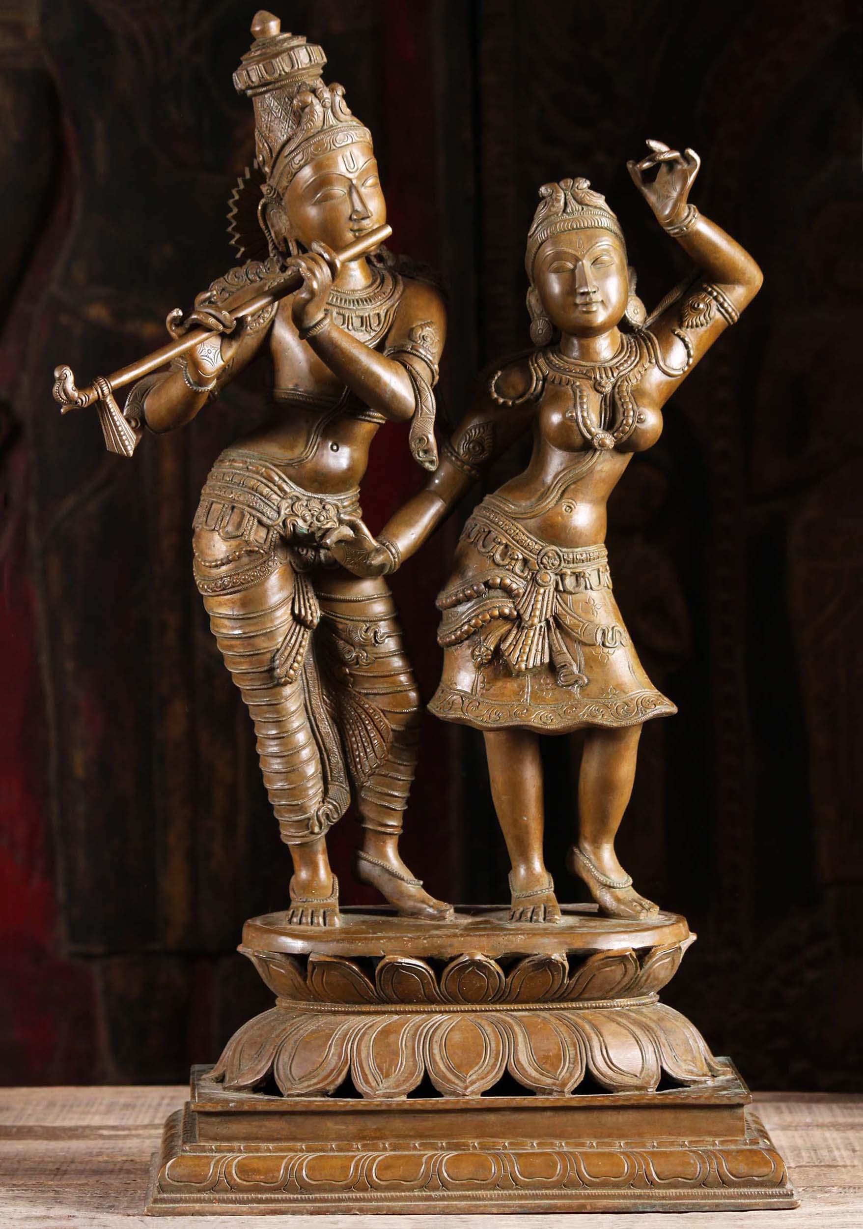 Sold Bronze Gopal Krishna Amp Dancing Radha Statue 24