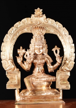 Bronze Shakti Mariamman Seated With Arch 13