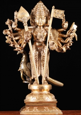 Bronze Arumurgan, Six Headed Murugan Statue 18