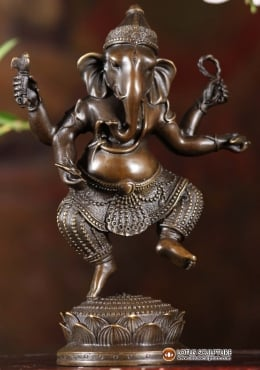 Bronze Small Dancing Ganesha Statue 8