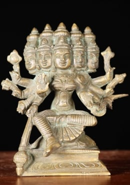 Bronze Gayatri Statue with 5 Faces & 10 Hands 5