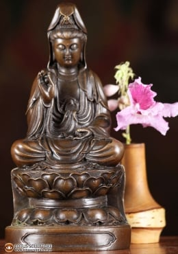 Bronze Small Kwan Yin On Lotus Base 7