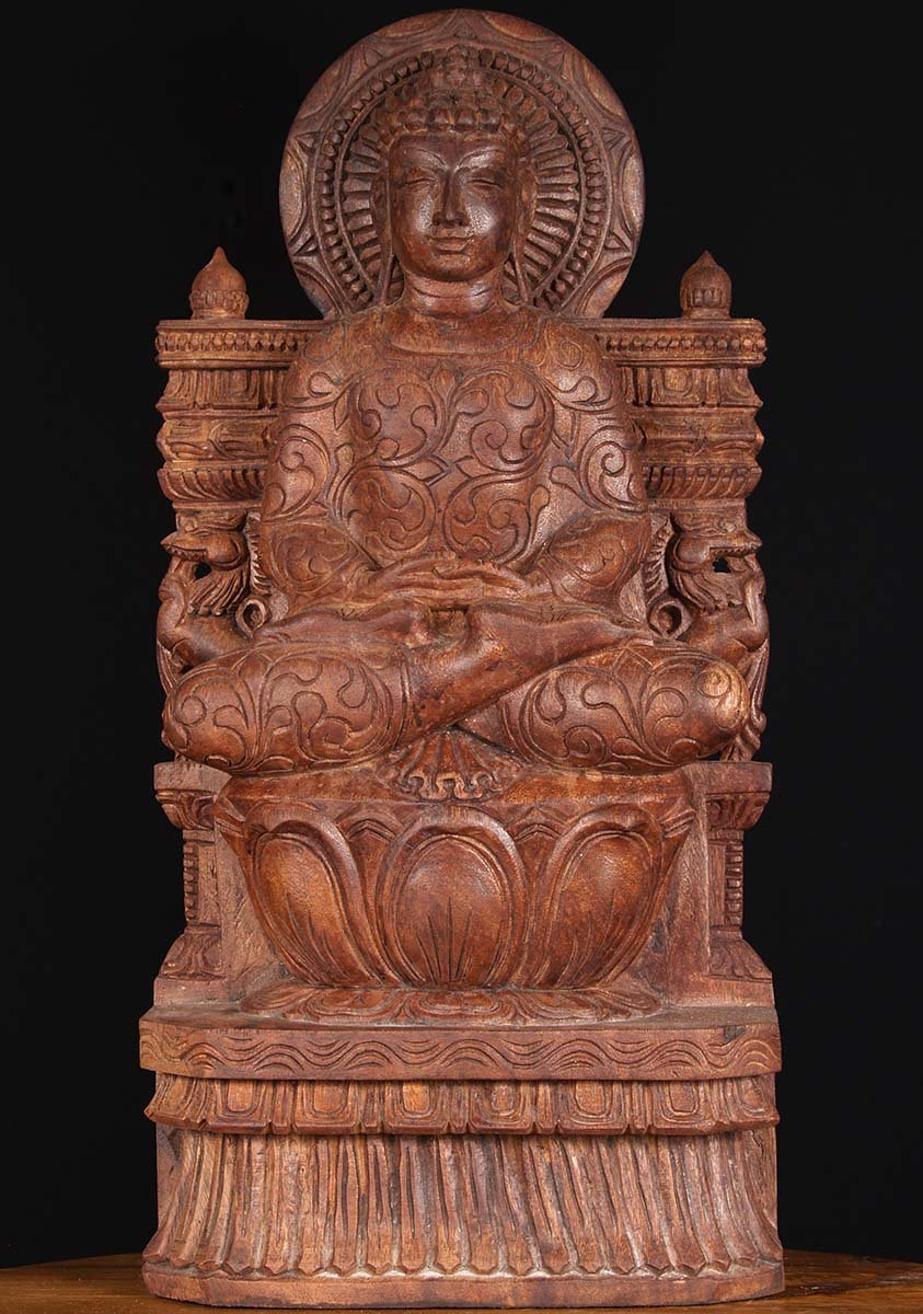 "What Is Freight Shipping >> SOLD Wood Meditating Buddha Sculpture 24"" (#76w3l): Hindu ..."