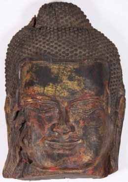 Antique Wood Cambodian Buddha Head 23