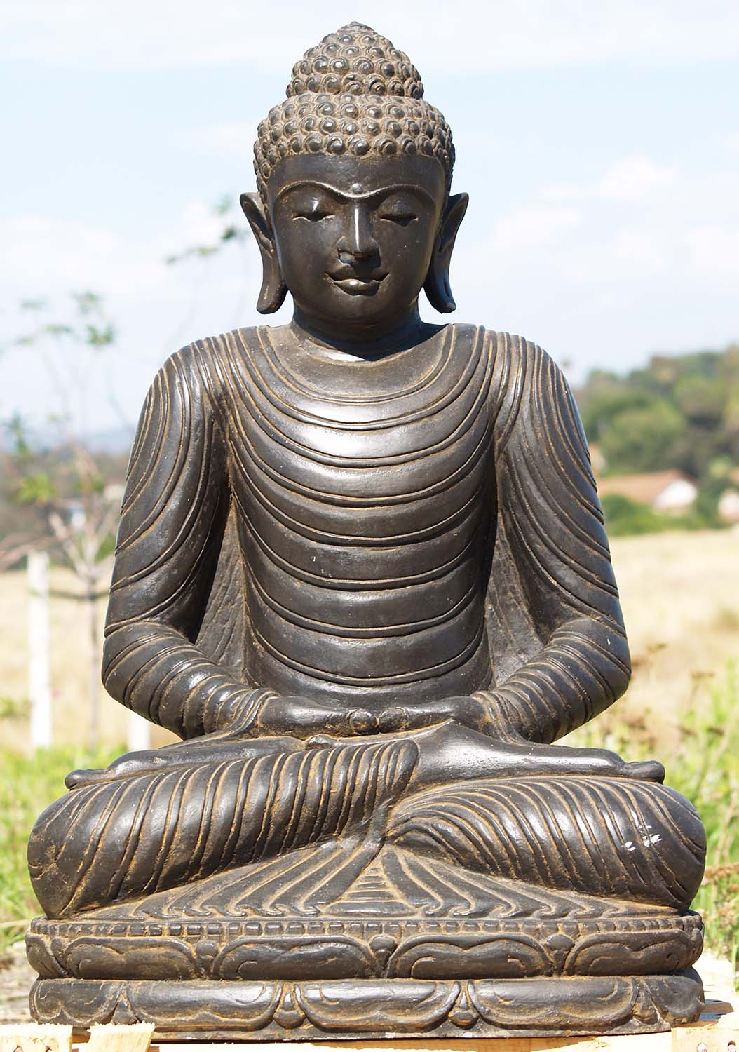 stone meditating garden buddha statue 32 85ls127. Black Bedroom Furniture Sets. Home Design Ideas