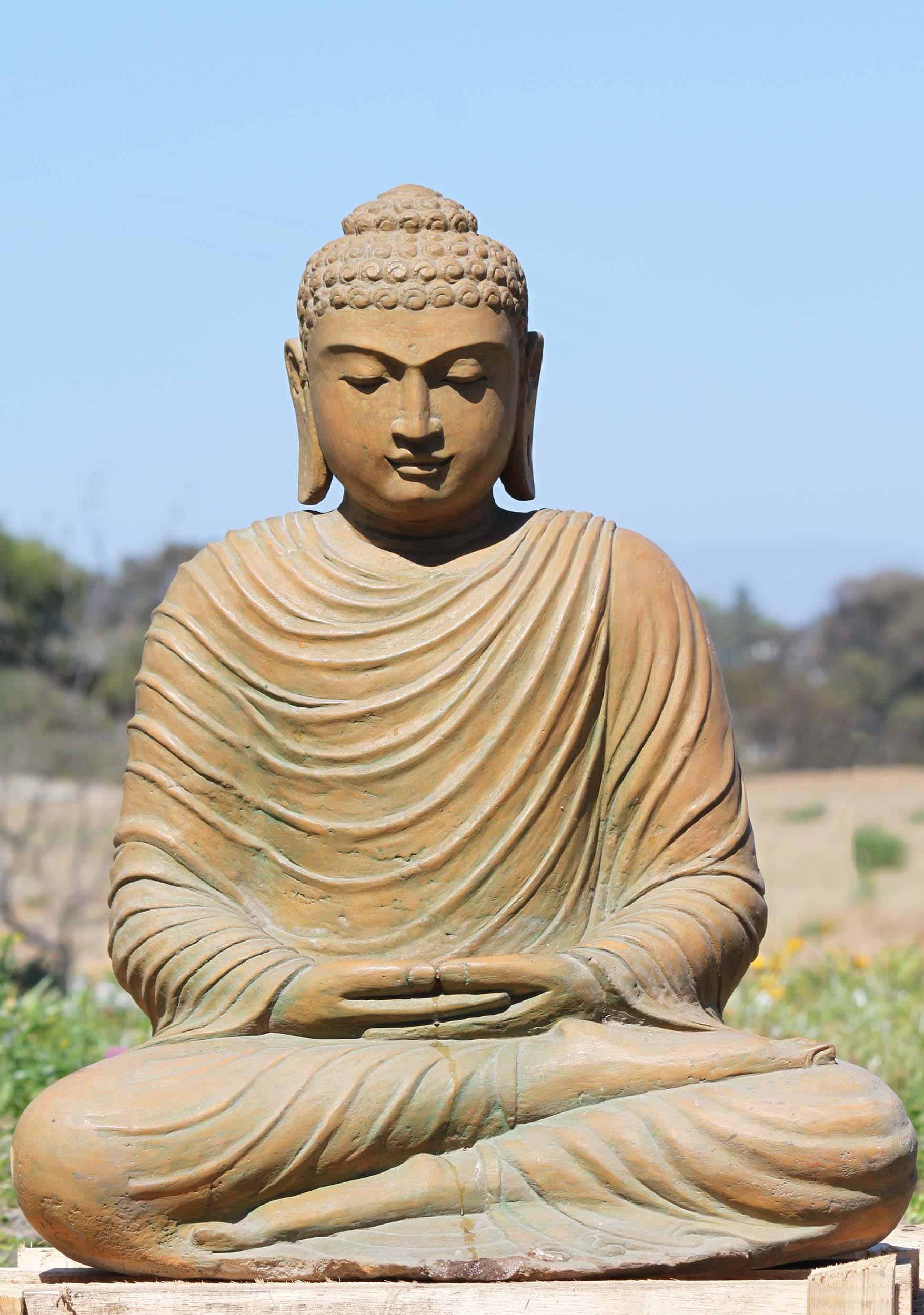Ups Ground Shipping Time >> SOLD Stone Japanese Meditating Buddha Sculpture 28 ...