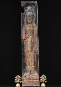 Antique Teak Wood Abhaya Buddha Panel 36