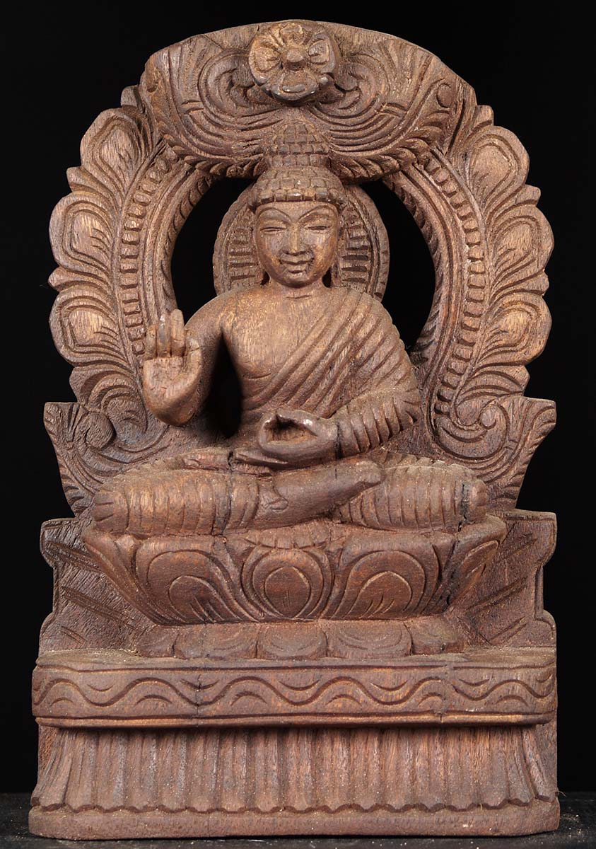 Sold Wood Teaching Buddha Statue With Arch 12 Quot 76w6bw