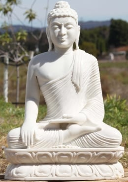 White Marble Earth Touching Buddha Statue 29