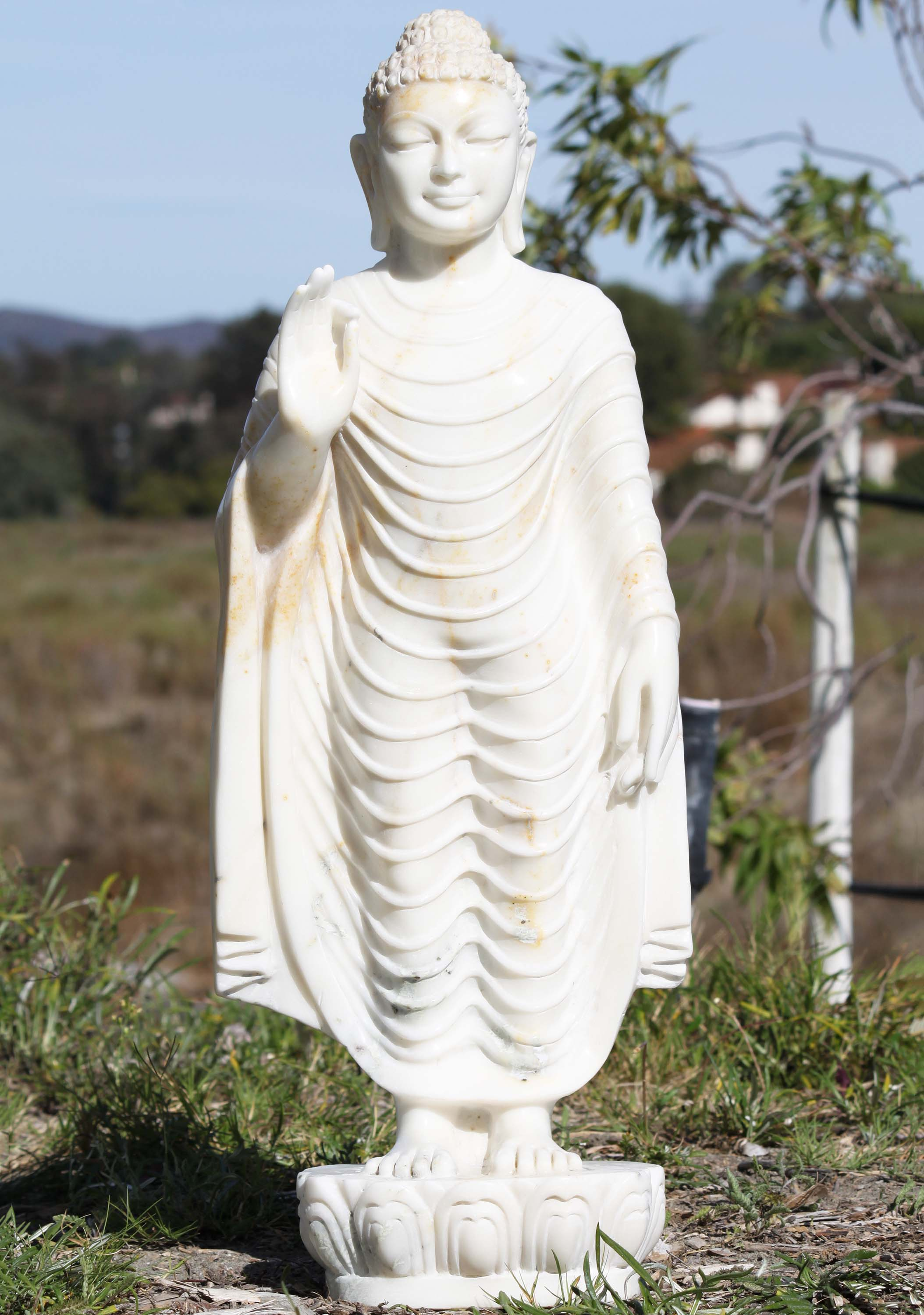 Sold White Marble Standing Buddha Statue 30 Quot 71wm85