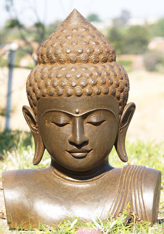 Sold Stone Buddha Bust Sculpture 25 U0026quot    86ls168   Hindu Gods  U0026 Buddha Statues