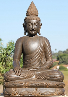 Stone Peaceful Buddha Statue with Lotus Finial 39
