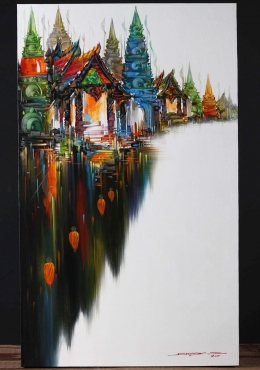 Buddhist Templescape Oil Painting On Canvas 40
