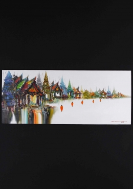Thai Templescape Oil Buddhist Painting 48
