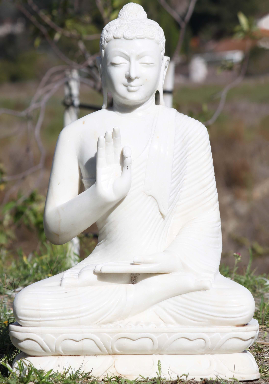 White Marble Statue : Sold marble buddha statue in vitarka mudra quot wm