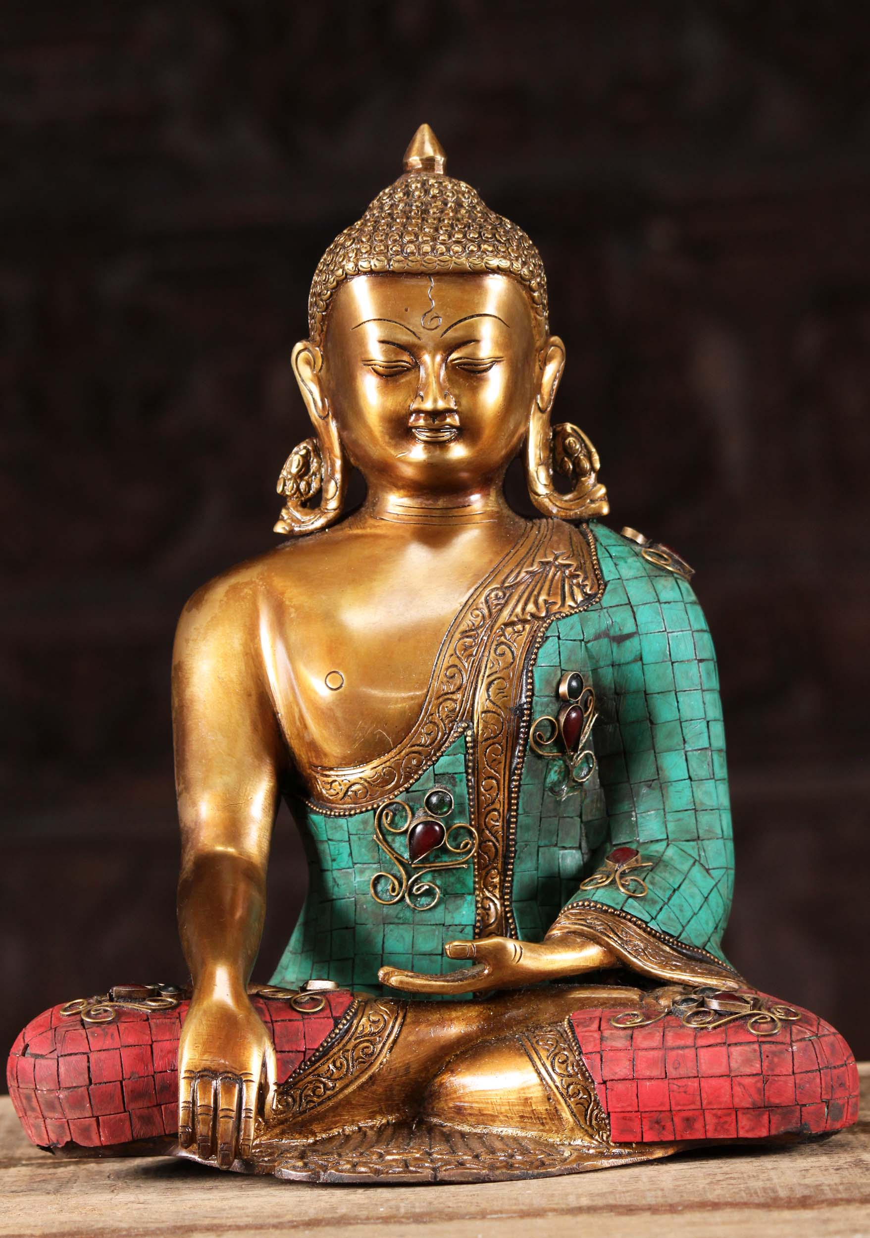 Brass Indian Buddha Statue With Colored Stones 15