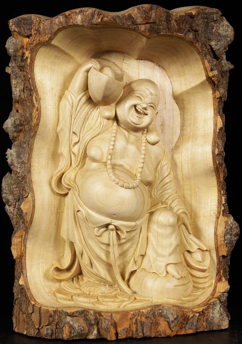 Wooden Fat & Happy Buddha Carving 11\
