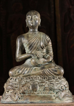 Brass Buddhist Monk Statue with Alms Bowl 19