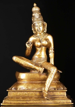 Brass Seated Parvati as Bogashakti Statue 13