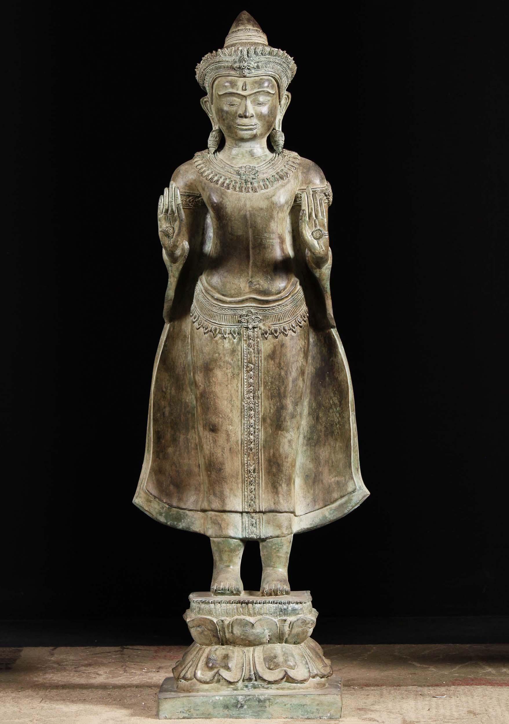 Sold Brass Cambodian Abhaya Mudra Buddha Statue 53