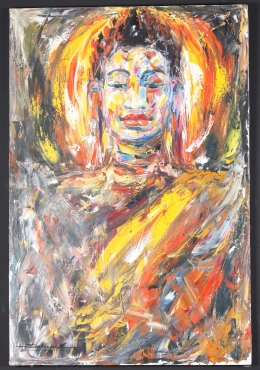 Cambodian Buddha Oil Painting on Canvas 47