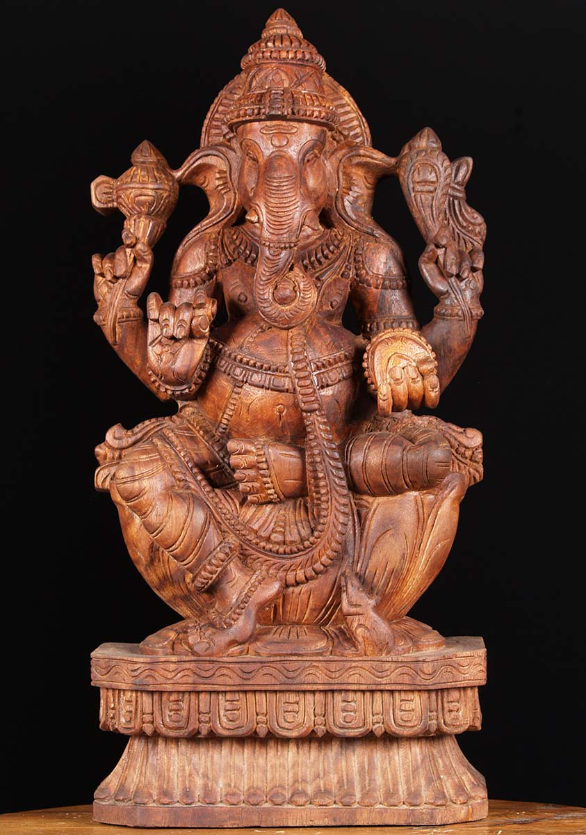 Sold wooden seated ganesha carving quot w au hindu