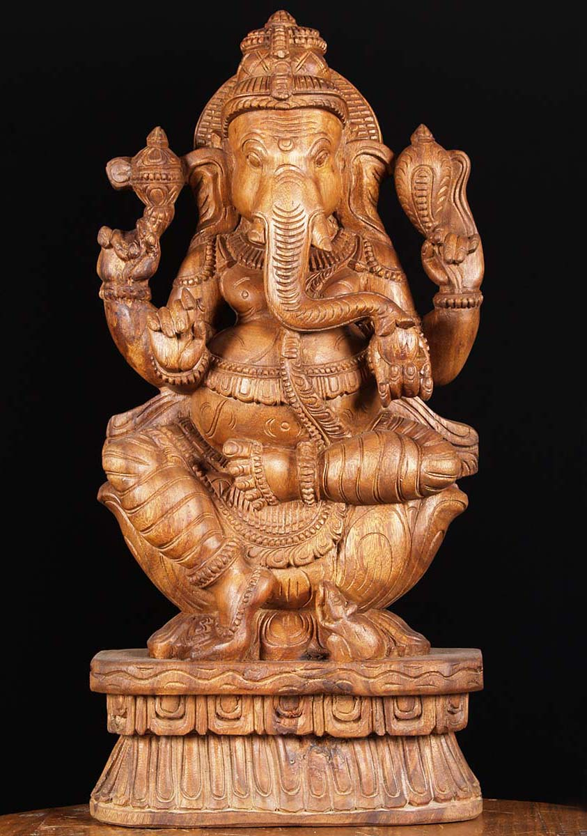 Sold natural wooden carving of lord ganesha quot w as