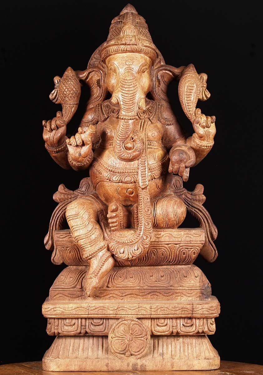 Sold wooden ganesha carving quot w av hindu gods