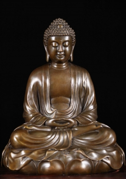 Bronze Meditating Buddha Statue on Lotus Base 11