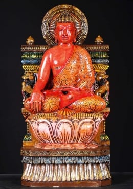 Wood Earth Touching Buddha Statue 24