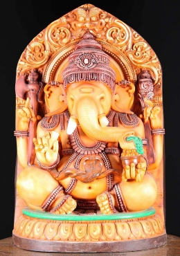 Fiber Seated Ganesh Statue with Cobra Belt 30